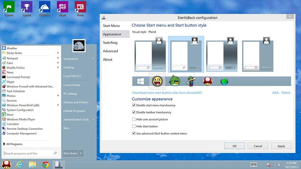 StartIsBack: real start menu for Windows 8 and Windows 10